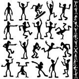 Funny Cartoon Guy Silhouette. Vector Set Stock Images