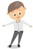 Funny Cartoon Guy With In White Shirt and Black Pants Stock Photos