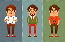 Funny cartoon guys in hipster fashion Stock Photo