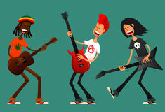 Funny cartoon guys playing guitar Stock Photography