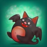 Funny cartoon halloween liyng bat character. Royalty Free Stock Images