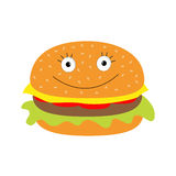 Funny cartoon hamburger icon with happy face. Royalty Free Stock Photography