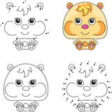 Funny cartoon hamster. Vector illustration. Coloring and dot to Stock Images