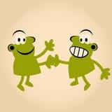 Funny cartoon handshake Stock Photo