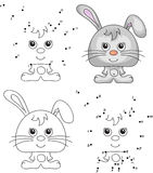 Funny cartoon hare. Vector illustration. Coloring and dot to dot Stock Image