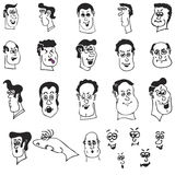 Funny Cartoon Heads and Faces. A set of funny cartoon heads and faces of men in format stock illustration