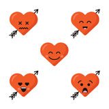 Funny cartoon heart character emotions set, vector icons, isolated on white. Royalty Free Stock Photography