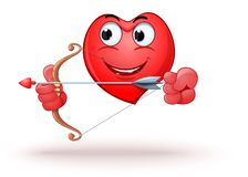 Funny cartoon heart shaped character shoots a bow. Happy smiling heart archery. Funny cartoon heart shaped character shoots a bow. Vector illustration vector illustration