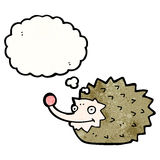 funny cartoon hedgehog with thought bubble Royalty Free Stock Image