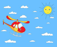 Funny cartoon helicopter in the cloudy sky. Stock Photos