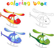 Funny cartoon helicopter. Coloring book for children Stock Images