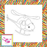 Funny cartoon helicopter. Coloring book for children Royalty Free Stock Images