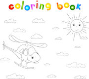 Funny cartoon helicopter. Coloring book for children Royalty Free Stock Image