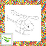 Funny cartoon helicopter. Coloring book for children Stock Image