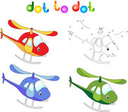 Funny cartoon helicopter. Connect dots and get image. Educationa. L game for kids. Vector illustration Stock Images
