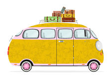 Funny cartoon hippie bus Royalty Free Stock Photography