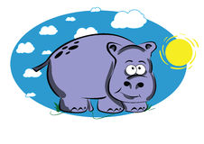 Funny cartoon hippo. On a blue background with sun and white clouds Vector Illustration