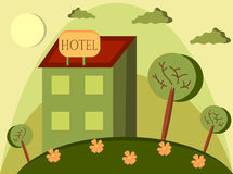 Funny cartoon of hotel Stock Images