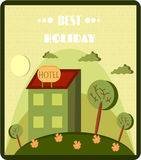 Funny cartoon of hotel, retro style, text Best Royalty Free Stock Images