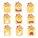 Funny cartoon humanized house with with many expressions set of vector Illustrations. Isolated on white background Royalty Free Stock Photo