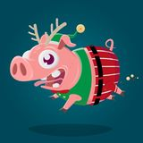 Cartoon illustration of a crazy pig in christmas elf costume. Funny cartoon illustration of a crazy pig in christmas elf costume vector illustration