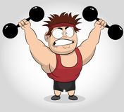 Funny Cartoon illustration of a muscular guy holding a dumbbells. Fit muscular man exercising with dumbbells. vector illustration