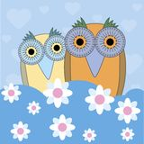 Funny cartoon illustration owls Stock Photos