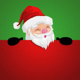 Funny cartoon of a peeping Santa Claus. Funny cartoon illustration of a peeping Santa Claus Stock Photography