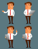 Funny cartoon illustration of a young business man Royalty Free Stock Photo