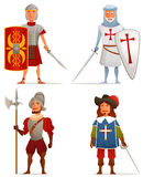 Funny cartoon illustrations from ancient and medieval age. A Roman soldier, German crusader, Spanish conquistador and French musketeer Royalty Free Stock Photo