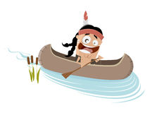 Funny cartoon indian in a canoe Royalty Free Stock Image