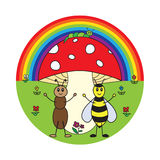 Funny cartoon insects Royalty Free Stock Image