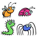 Funny cartoon insects crawling somewhere. vector illustration. Contour Freehand Digital Drawing Cute Characters. White Color Background Royalty Free Stock Photography