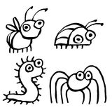 Funny cartoon insects crawling somewhere. vector illustration. Contour Freehand Digital Drawing Cute Characters. White Color Background Royalty Free Stock Photo