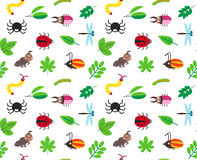 Funny cartoon insects and leaves vector background. Funny cartoon insects and tree leaves vector seamless background, pattern with spider, bugs, dragonfly Royalty Free Stock Photography