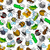 Funny cartoon insects seamless pattern Royalty Free Stock Photo