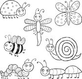 Funny cartoon insects. Vector drawings of the different amusing insects Stock Images