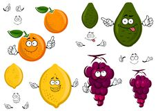 Funny cartoon isolated fruit characters Stock Images