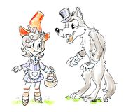 Funny cartoon isolated illstration of a scary wolf and little girl in red hat Royalty Free Stock Image