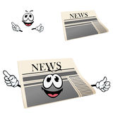 Funny cartoon isolated newspaper character Stock Photography