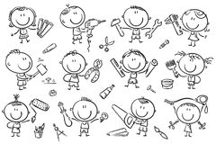 Kids with Tools. Funny cartoon kids with different tools for construction, measurements, painting. Easy to print and edit. Vector files can be scaled to any size royalty free illustration