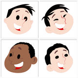 Funny Cartoon Kids Faces Stock Image
