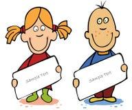 Funny Cartoon Kids With Empty Blank Stock Photo