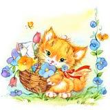 Funny cartoon kitten and flowers. watercolor illustration stock illustration
