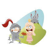Funny cartoon knight giving flowers to a princess Stock Photos