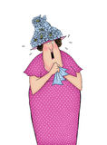 Funny Cartoon Lady Crying and Holding a Handkerchief Royalty Free Stock Image