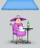 Funny Cartoon Lady at a Sidewalk Cafe. Funny fancy lady with French poodle drinking wine at a sidewalk cafe Royalty Free Stock Photos
