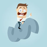 Funny cartoon lawyer riding a paragraph sign Royalty Free Stock Photo