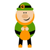 Funny Cartoon Leprechaun Holding a Bag. Of money Royalty Free Stock Images