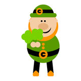 Funny Cartoon Leprechaun Holding a Clover Stock Images